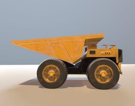 The yellow dumper,track,3d render. 版權商用圖片