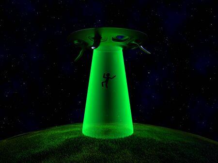 The UFO abduction in night,3d render. 版權商用圖片