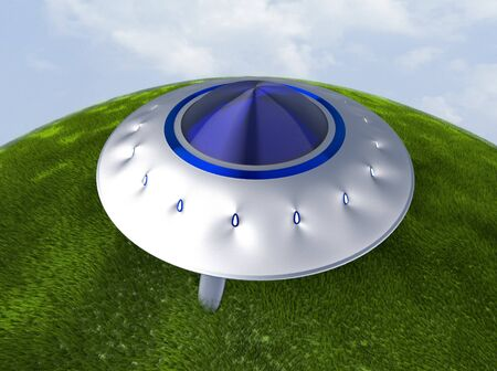 The alien space ship on grass,UFO,3d render. 版權商用圖片