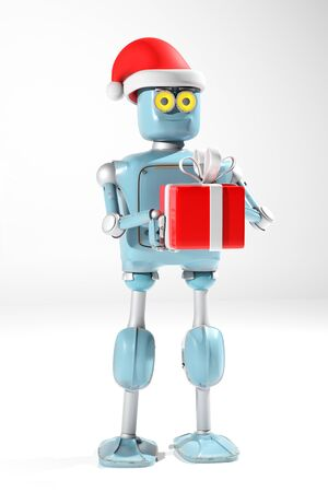 The retro robot in christmas hat,christmas celebration