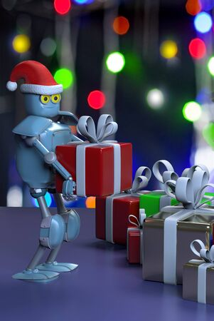 The retro robot in christmas hat,put the box,christmas celebration,3d render