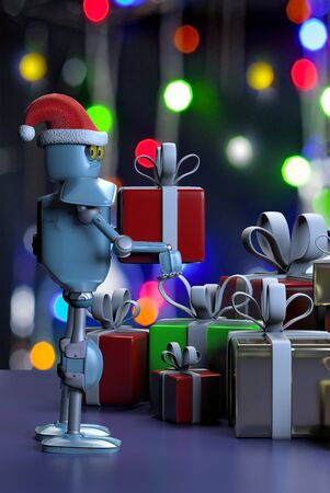 The retro robot in christmas hat,put the box,christmas celebration
