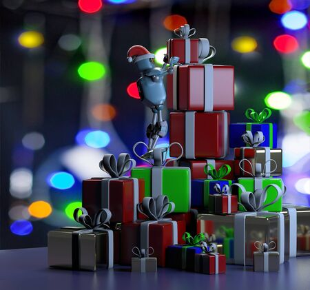 The retro robot in christmas hat,put the box,mountain of boxes,christmas celebration,3d render Stock Photo