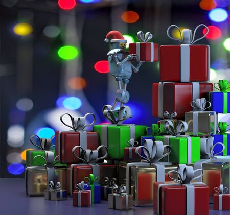The retro robot in christmas hat,put the box,mountain of boxes,christmas celebration,3d render Standard-Bild