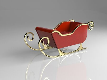 The christmas sliegh,3d render.