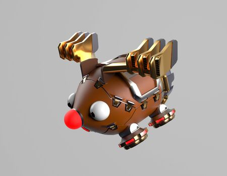 The robot deer,fly deer,christms deer,3d render.
