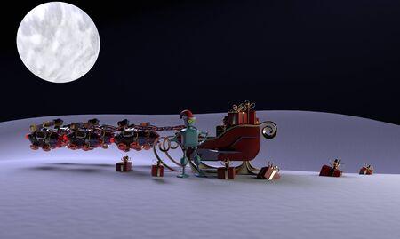 The christmas sleigh with six deer robots.3d render. 版權商用圖片