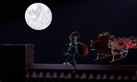 The retro robot santa claus with bag walks on the roof.3d render.