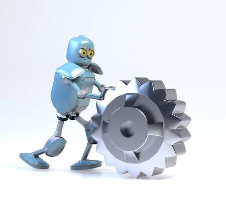 the retro robot rolls a gear,3d render.