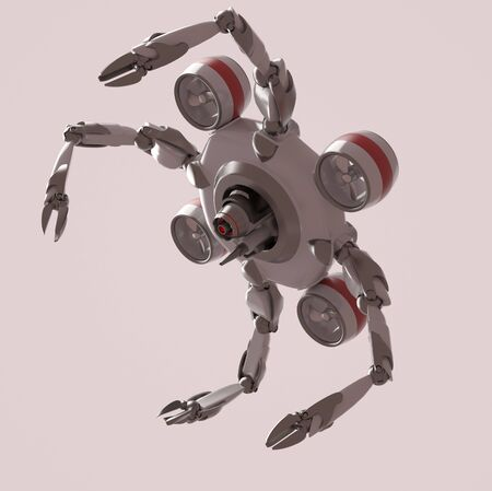 The nano robot on the white background,3d render. 版權商用圖片