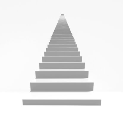 The stairs on the white bacground,Abstract architecture concept,3d render.