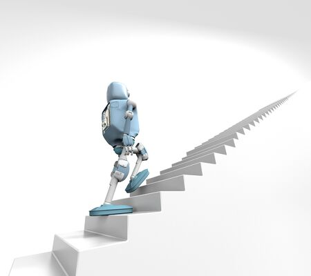 The robot walks on the stair, on the white bacground,3d render.