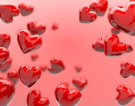 The valentine's Day background with red hearts on pink,3d render.
