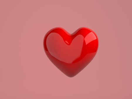 The valentine's Day background with red heart on pink,3d render.