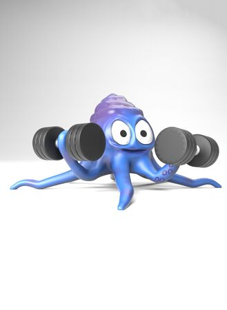 The octopus with dumbbell,on the white bacground,3d render.