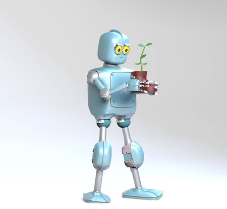 The retro robot with plant in shoe,isolated on grey bacground, 3d render.