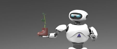 The obot with plant in shoe,isolated on grey bacground, 3d render. 版權商用圖片