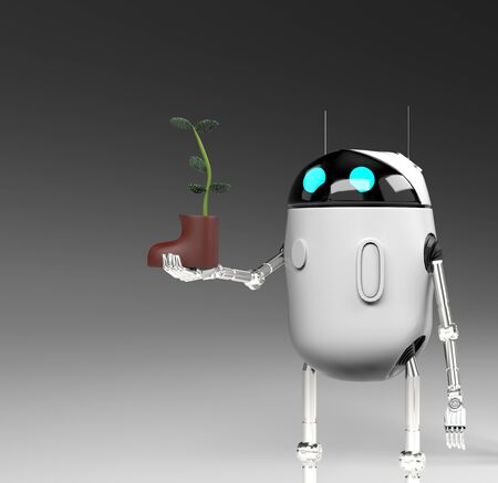 The robot with plant in shoe,isolated on grey bacground, 3d render.