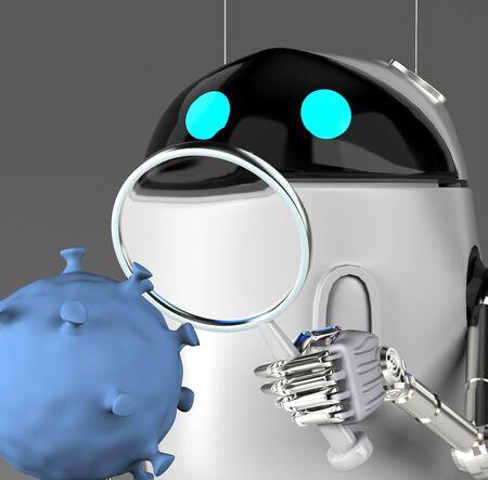The robot studies a coronavirus with magnifier,robot with bacterium,3d render.