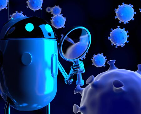 The robot studies a coronavirus with magnifier,nano robot with bacterium,3d render.