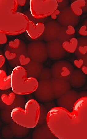 The valentine's Day background with red hearts on red,3d render.