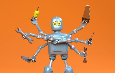The retro robot with many tools,octopus,robot handyman,3d render.