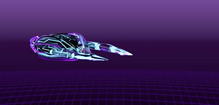 The neon spaceship on purple bacground,cyber pank,3d render.