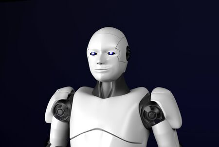 The sci-fi robot,android on black background,3d render.