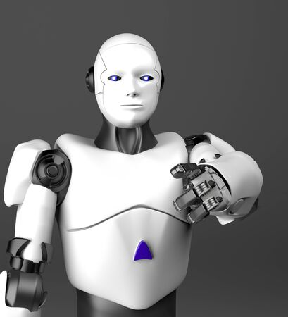 The white humanoid robot points a finger,3d render.