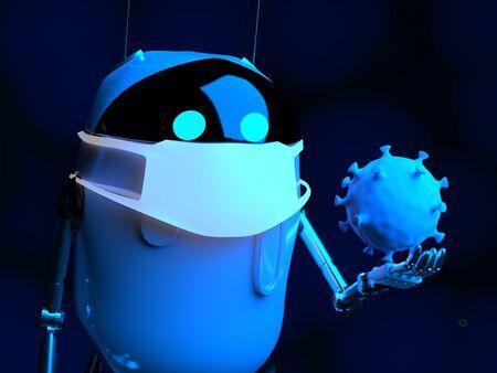 The robot studies a coronavirus with gauze mask medical,nanorobot with bacterium,3d render.