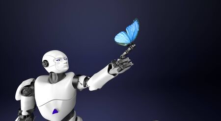 The humanoid robot with butterfly,3d render.