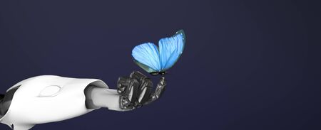 The robot arm with butterfly,3d render.