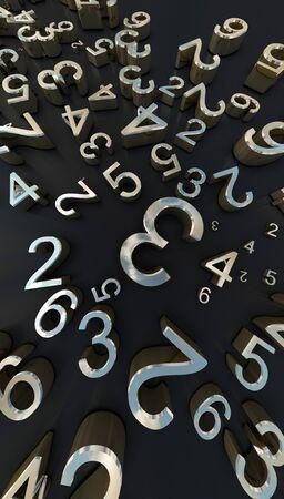 3d Rendering gold Numbers On black Background 版權商用圖片
