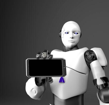 The humanoid robot with telephone,3d render. 版權商用圖片