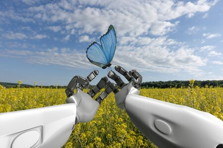 The humanoid robot with butterfly in the hands, first-person view, 3d render. 版權商用圖片