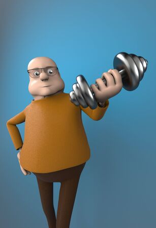 The fat man work out with dumbbells,3d render.