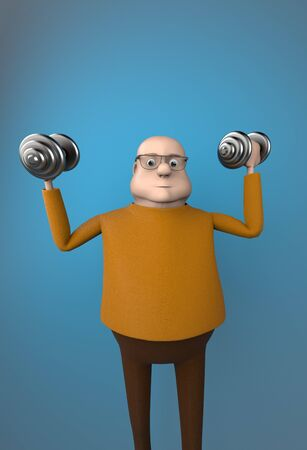 The fat man work out with dumbbells on blue background,3d render. 版權商用圖片