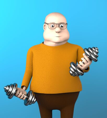 The fat man work out with dumbbells on blue background,3d render. 版權商用圖片 - 146963086