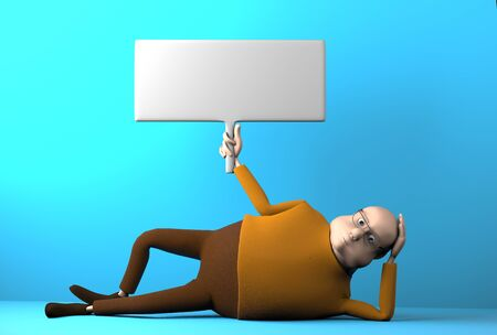 The lazy man with banner in hand lying on the floor,3d render.