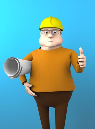 The builder engineer with a drawing on a blue