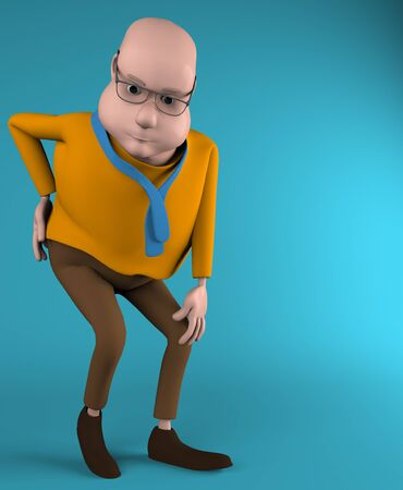 The man with pain in back, backache, 3d render.