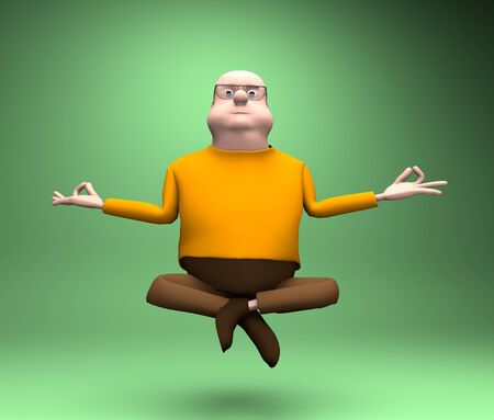 The man levitates and balance, yoga meditation,3d render.