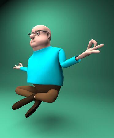 The man levitates and balance, yoga meditation,3d render. 版權商用圖片