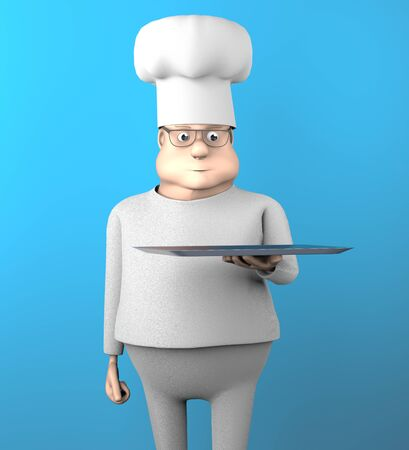 The fat cook with tray,3d render.