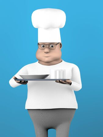 The fat cook with tray,3d render. 版權商用圖片 - 148007283