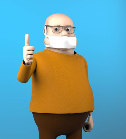 The fat man with mask, quarantine, 3d render.