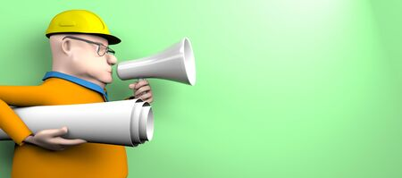 The builder engineer speaks in a megaphone with a drawing on a blue background,3d render. 版權商用圖片