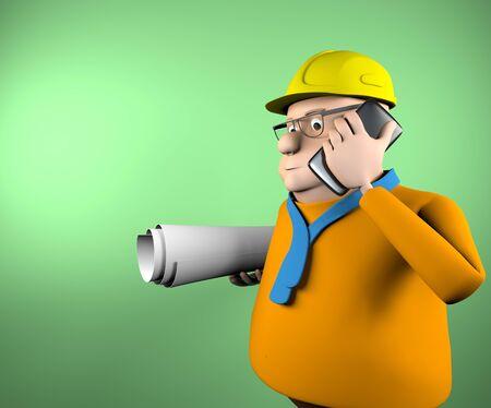 The civil engineer talking on the phone,3d render. 版權商用圖片
