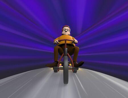 The adult man on children's bike with Jet engine turbine, speed fast concept, 3d render. 版權商用圖片