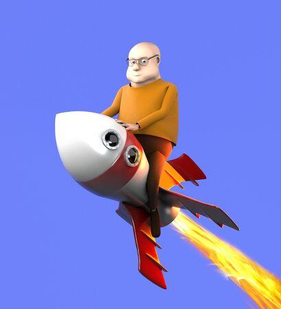 The man on a rocket,cartoon style,3d render. 版權商用圖片